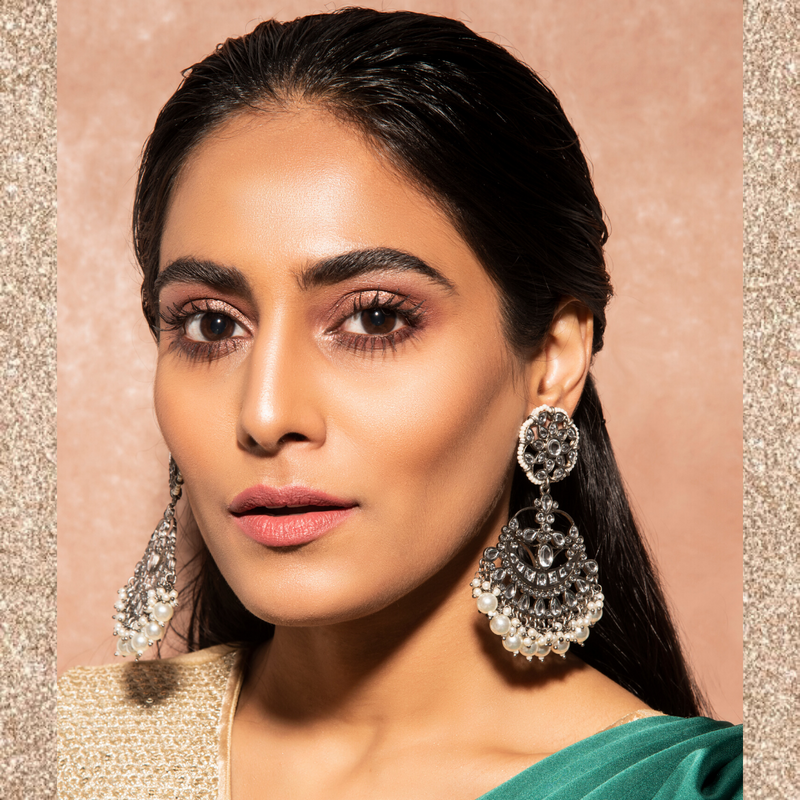 Leela Earrings -  Silver Pearl Kundan Indian Earrings