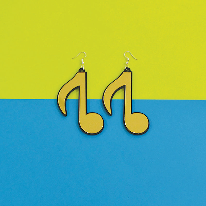 High Notes - Gold - Acrylic Music Notes Earrings