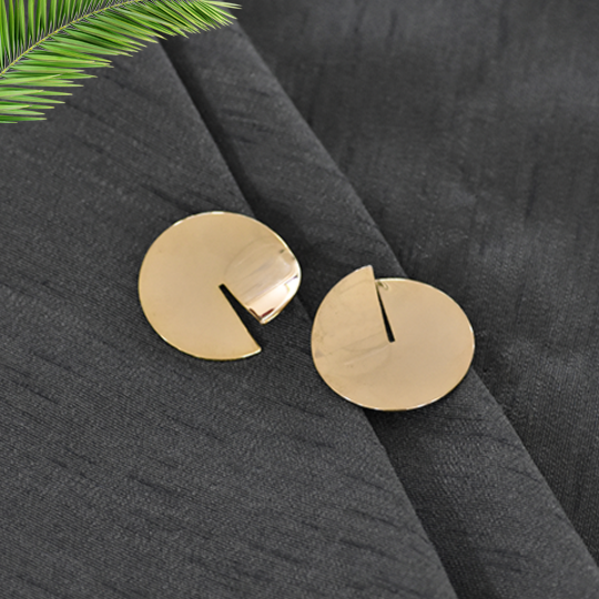 Olivia - Golden Disc Cut Out Stud Earrings