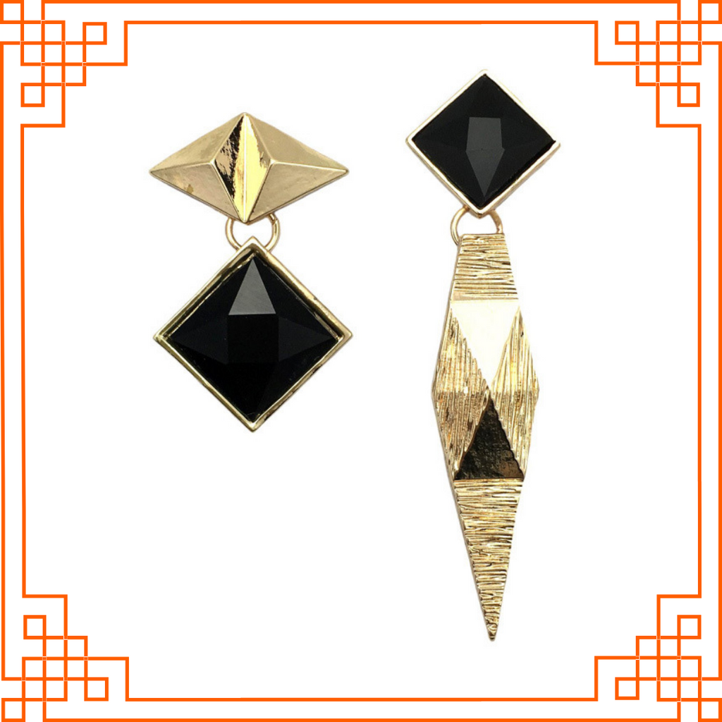 Metallica - Golden Metal And Black Stone Geometric Earrings