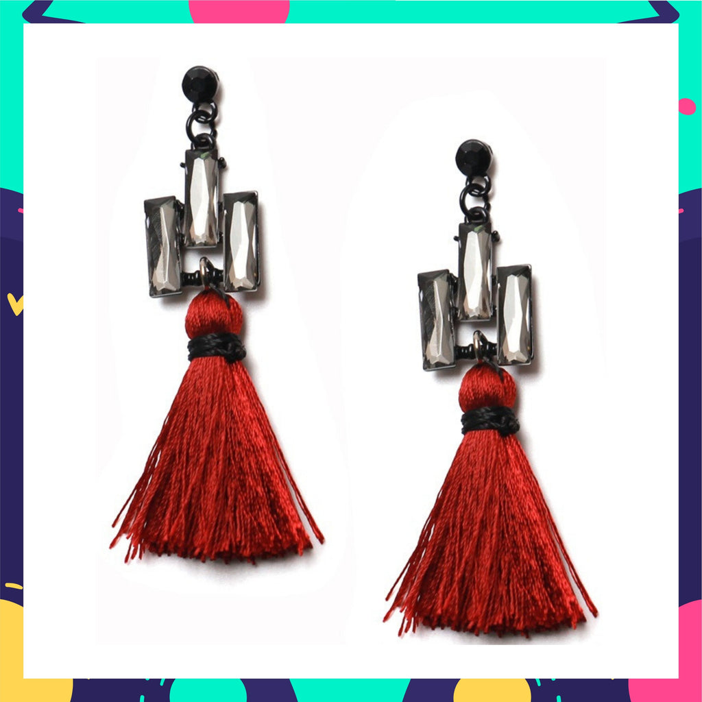 Tassel Triad - Brick - Crystal and Tassel Earrings