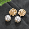 Amber - White Pearl and Golden Metal Earrings