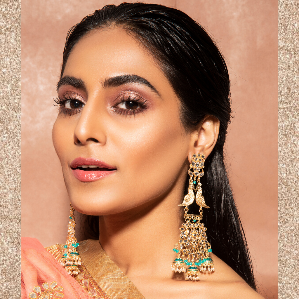 Suhasini Earrings - Long Heavy Indian Crystal Earrings