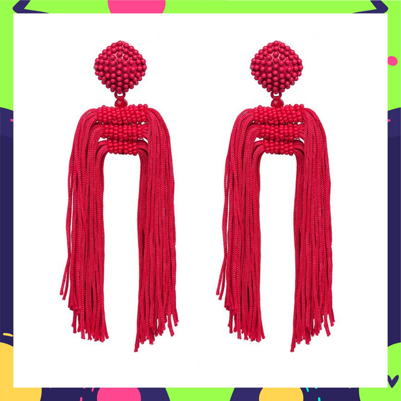 Tropical Raspberry - Tassel Earrings