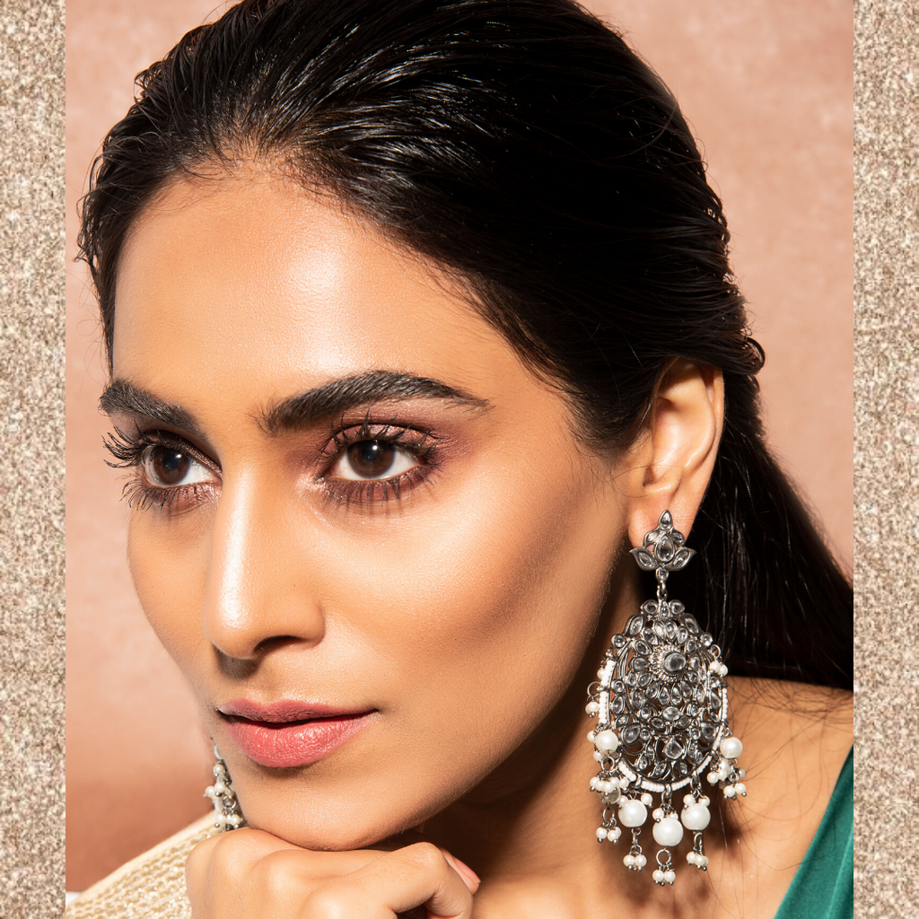 Akshara Earrings - Silver Pearl Kundan Indian Earrings