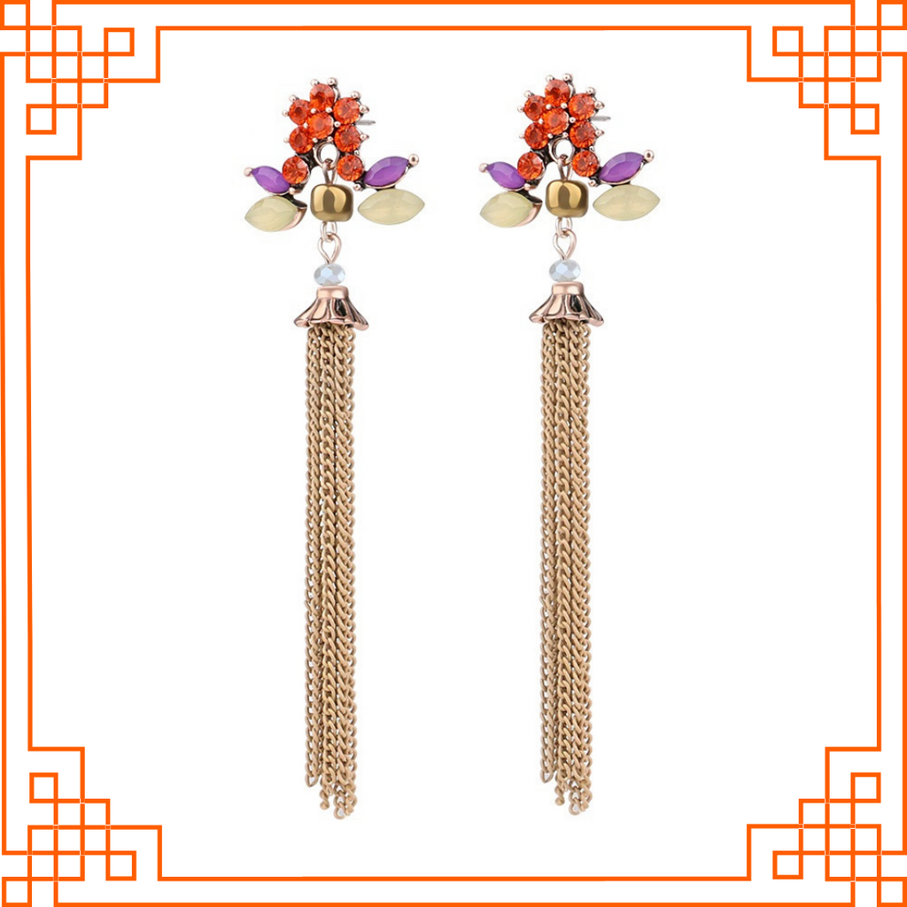 Milano - Stone Earrings With Metal Tassels