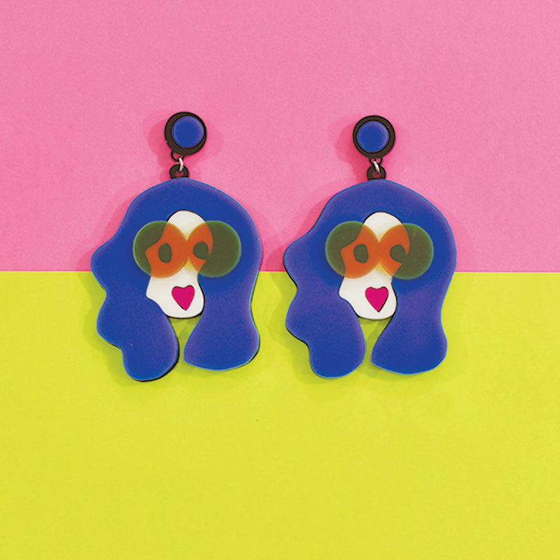 Rachel Retrogram- Blue - Multicoloured Face Acrylic Earrings