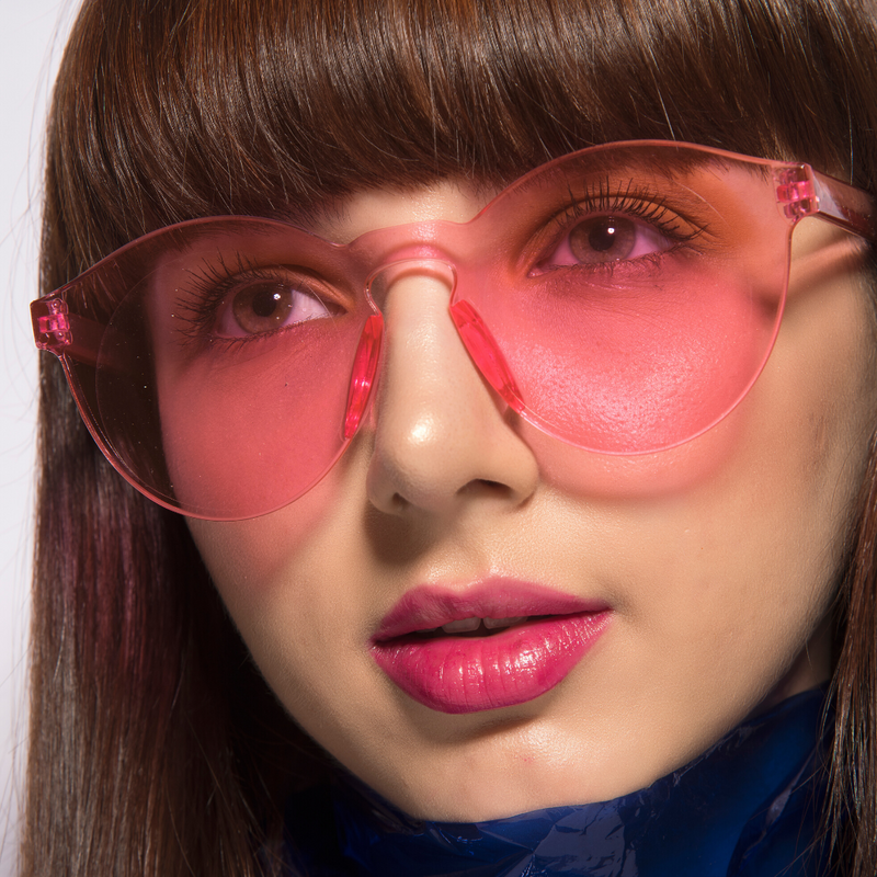 Eye Candy - Pink - Round Colourful Translucent Frame Sunglasses