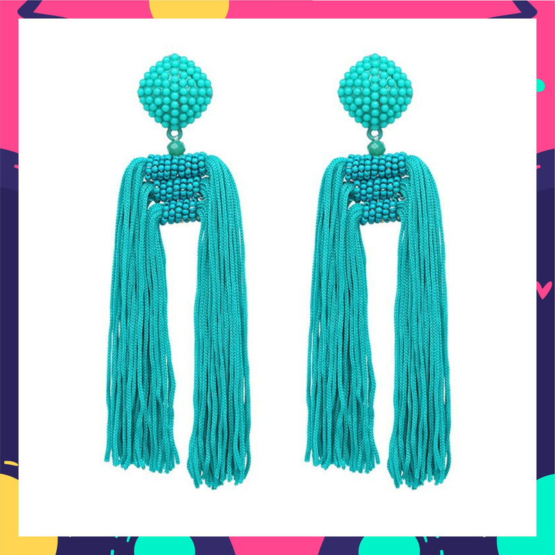 Tropical Orchid - Tassel Earrings