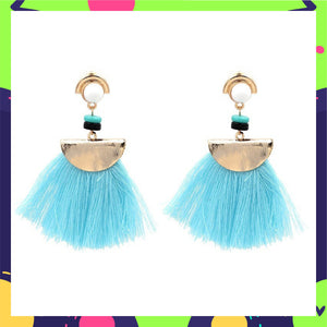Chica - Sky Blue - Beaded Tassel Earrings