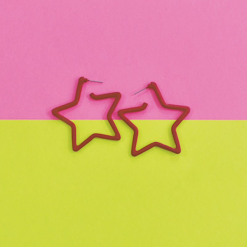 Superstar - Red - Metal Star Earrings