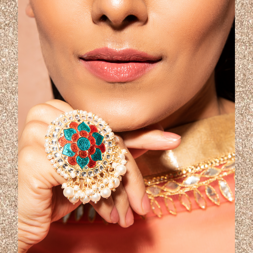 Meera Ring - Meenakari Beaded Statement Ring