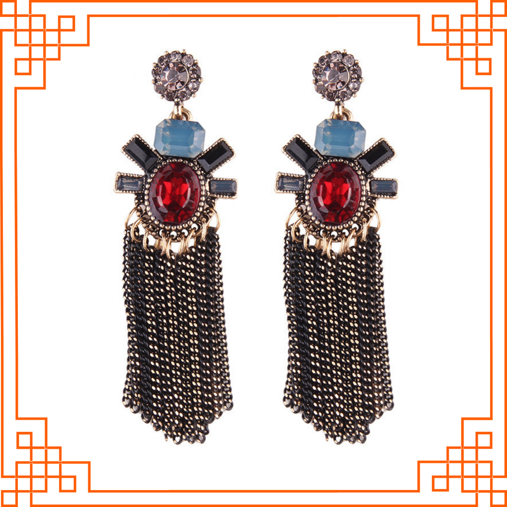 Mystique - Crystal Earrings with Metal Tassels