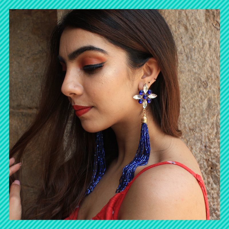 Dazzling Blossoms- Blue - Long Sequin Tassel Stone Earrings