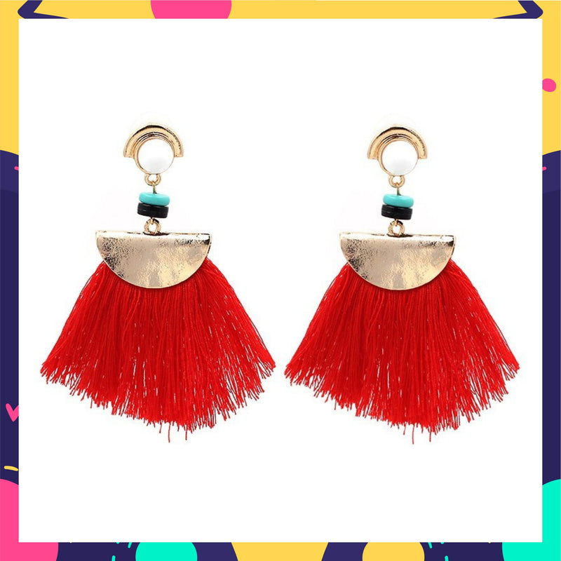 Cherry's Chica - Red Tassel Earrings