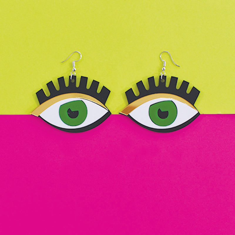 Green Eyes - Quirky Acrylic Earrings