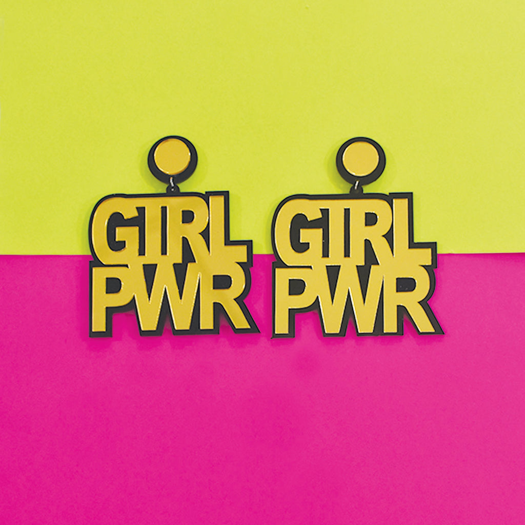 Girl Power - Acrylic Statement Quirky Golden  Earrings