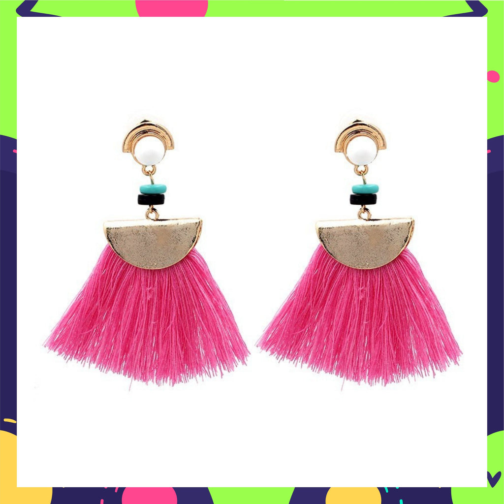 Chica - Pink - Beaded Tassel Earrings