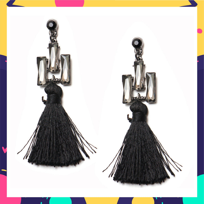 Tassel Triad - Black - Crystal and Tassel Earrings