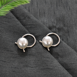 Lilly Silver - Metal and Pearl Earrings