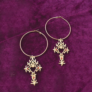 Margarita - Gold - Classy Dangle Drop Hoop Earrings