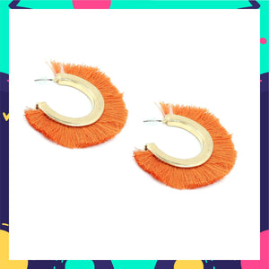 Simba - Orange Tassel Earrings