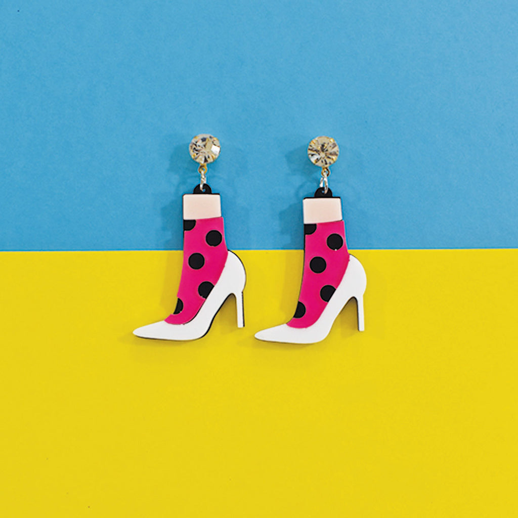 High Heels - Multicoloured Acrylic Heels Earrings