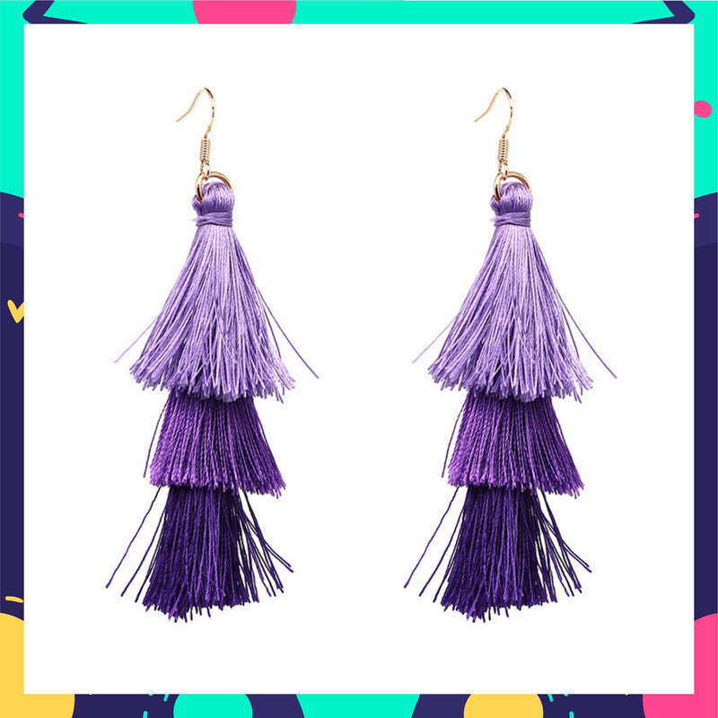 Ring A Bell - Winter - Purple Ombre Tassel Earrings