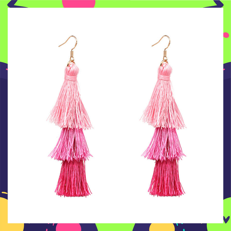 Ring A Bell - Spring - Pink Ombre Tassel Earrings