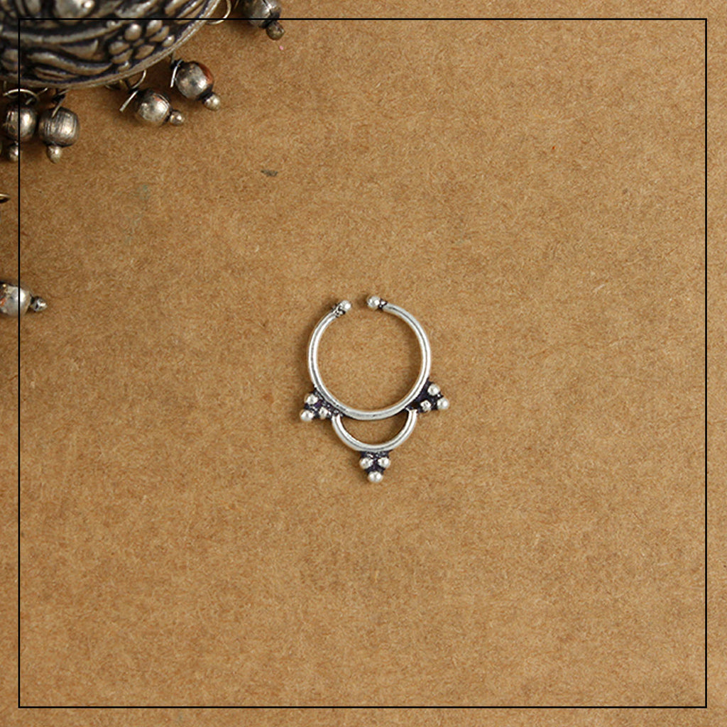 Triveni Septum Ring- Silver