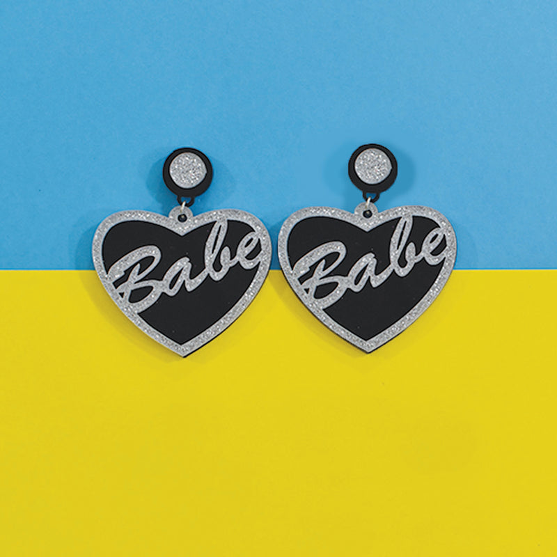 Babe (Glitter) - Heart shaped Black and Silver Glitter Acrylic Earrings