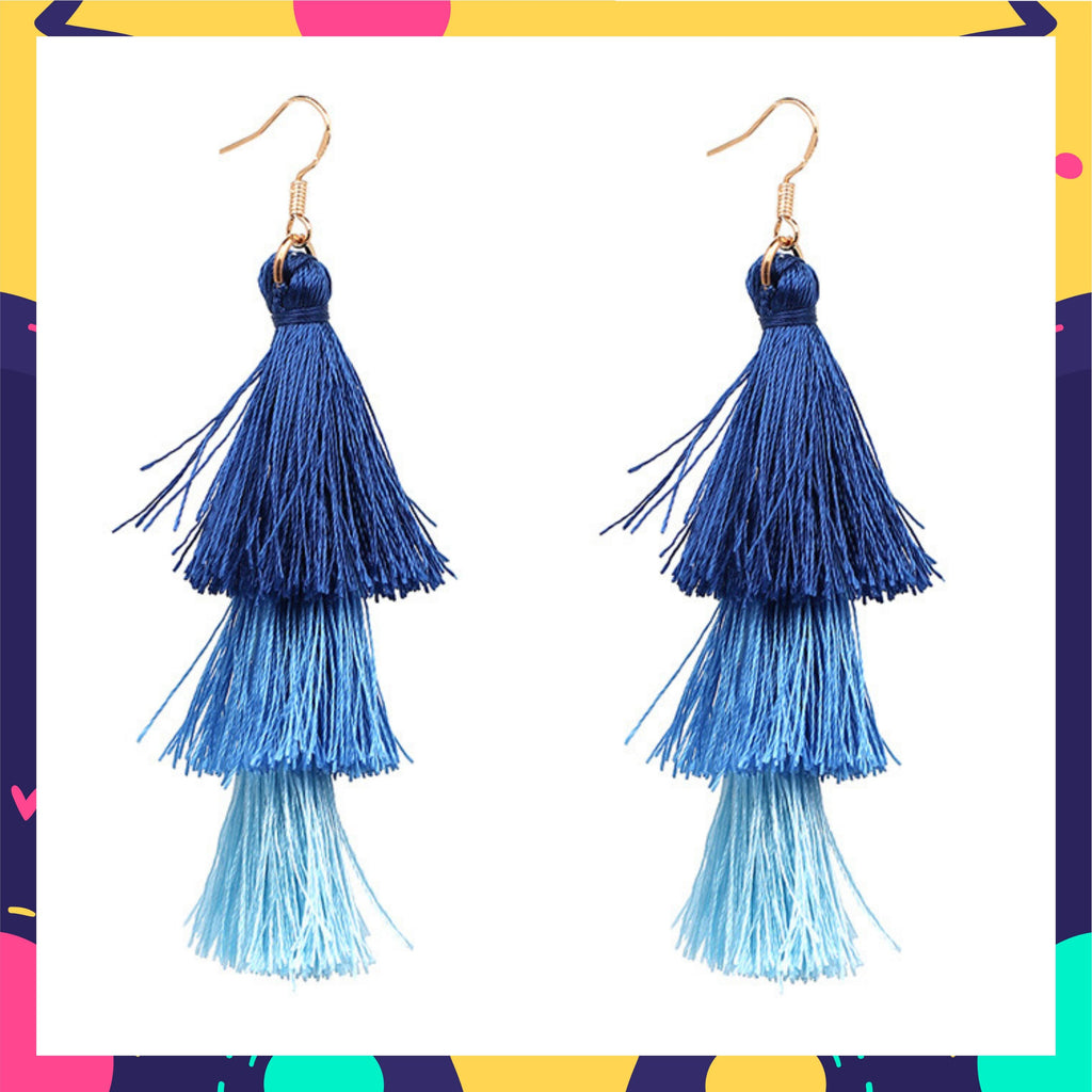 Priyanka In Knick Knack Nook Ring A Bell Earrings- Monsoon - Blue Ombre Tassel Earrings