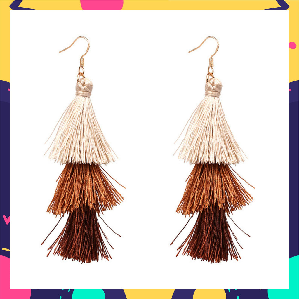Ring A Bell - Autumn - Brown Ombre Tassel Earrings