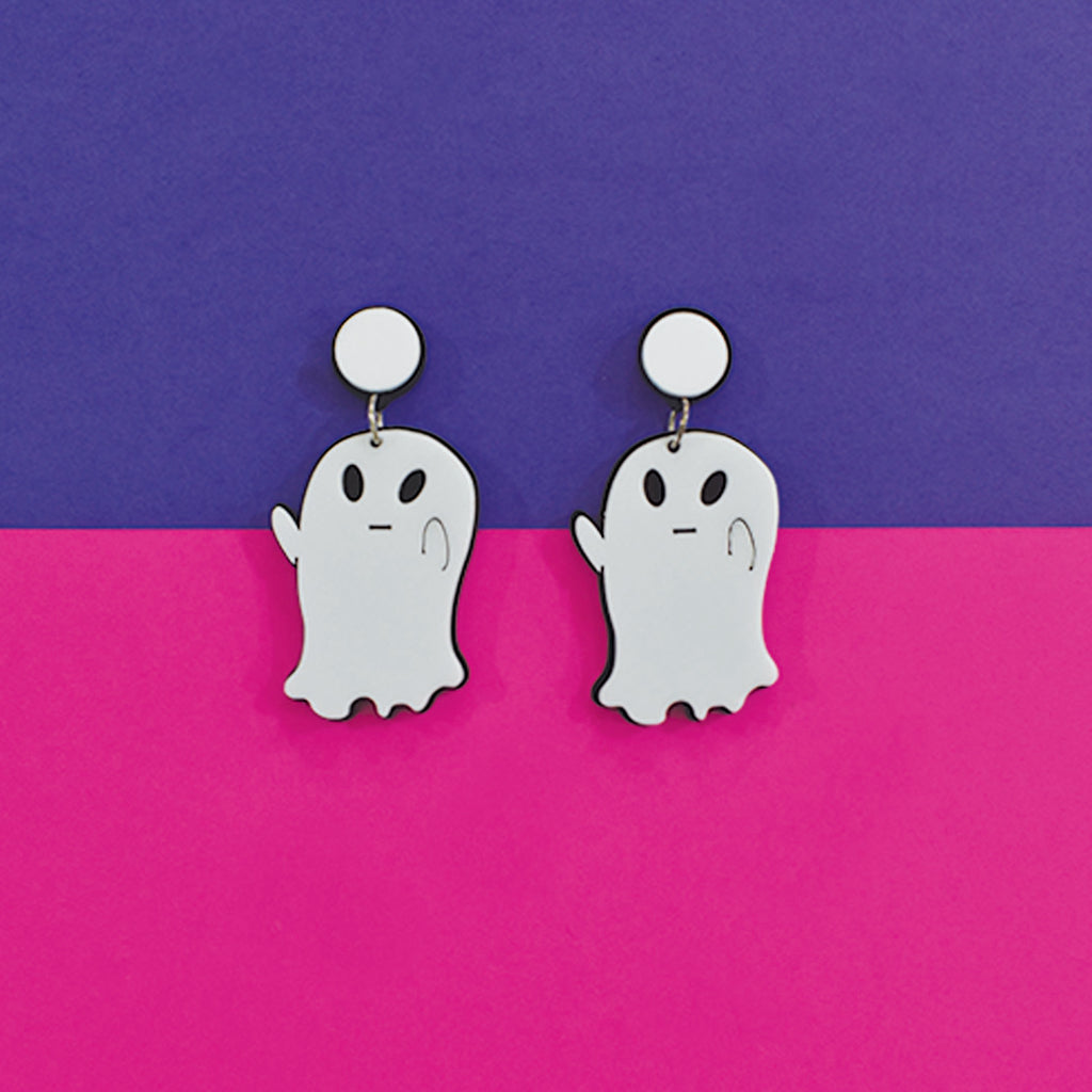 Boo! - White Acrylic Earrings