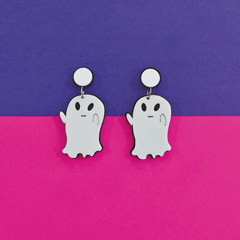 Boo! - Quirky White Ghost Acrylic Earrings