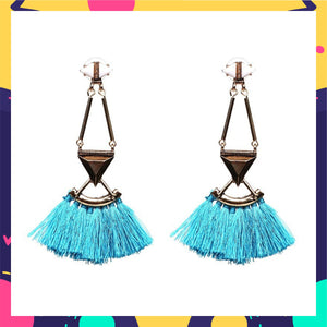 Cherry Jain In Knick Knack Nook Refuse to Sink Earrings - Blue Tassel Earrings
