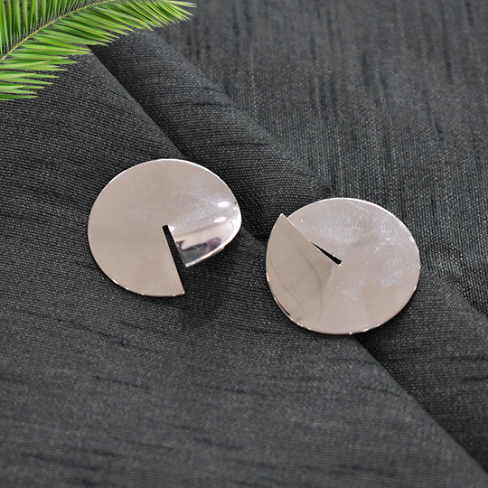 Olivia - Silver - Circular Dainty Earrings