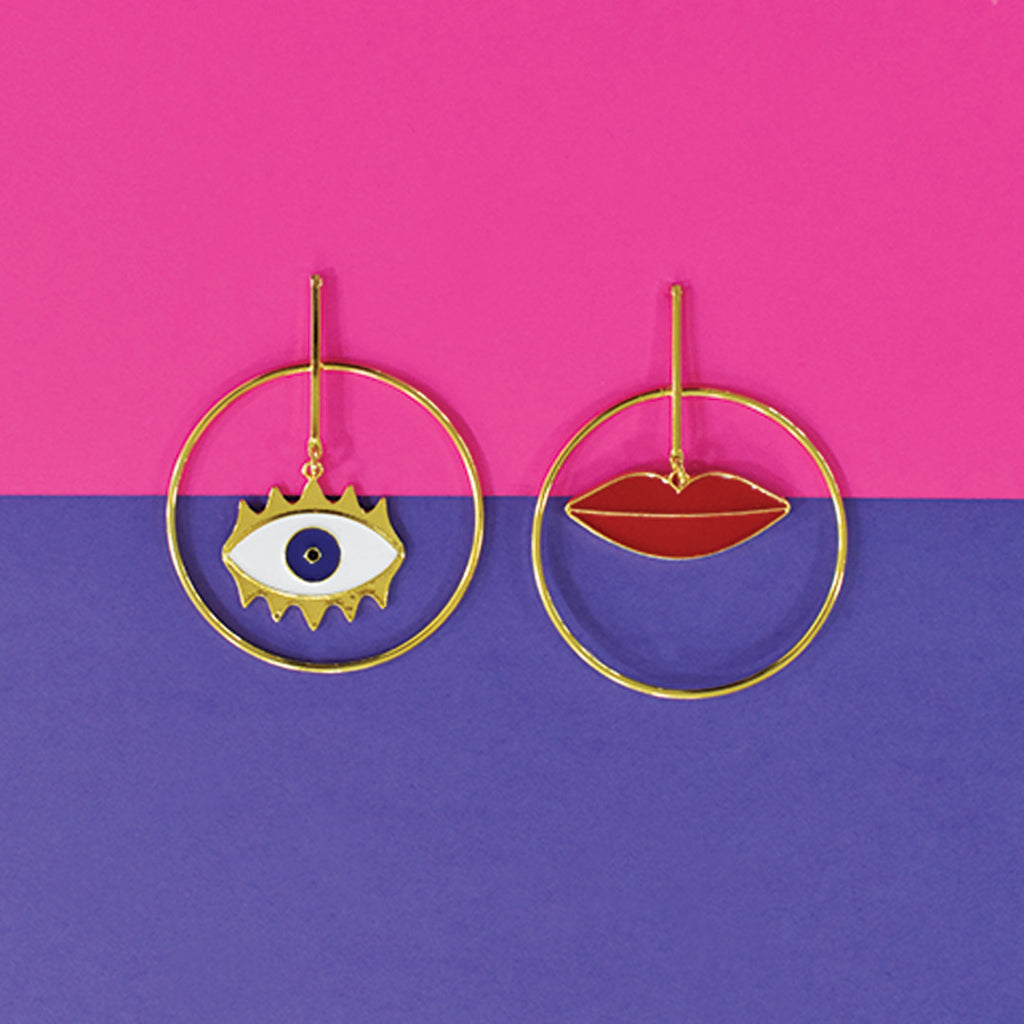 Pouting Cyclopes - Lips And Eyes Dainty Earrings