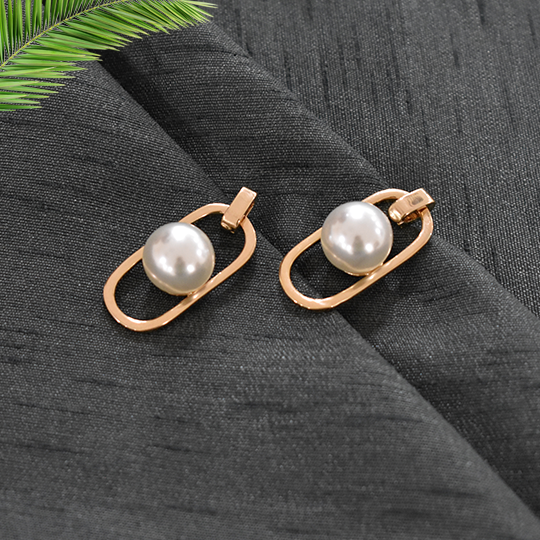 Mia - Gold - Metal and Pearl Earrings