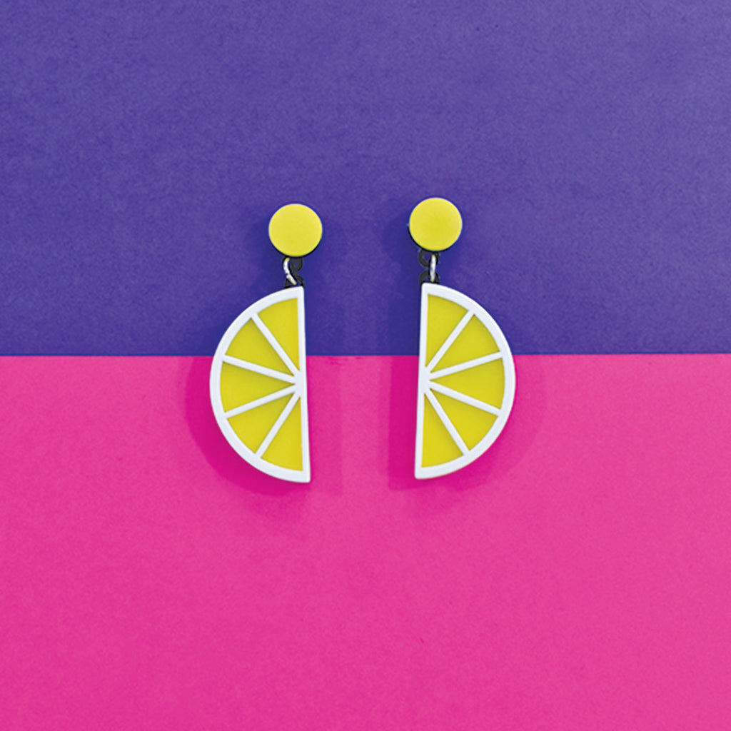 Fresh Lime - Fun Quirky Acrylic Lemon Earrings