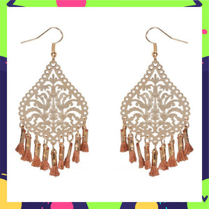 Palm Filigree Filters- Beige - Tassel Earrings