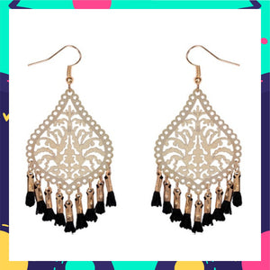 Palm Filigree Filters- Black - Tassel Earrings