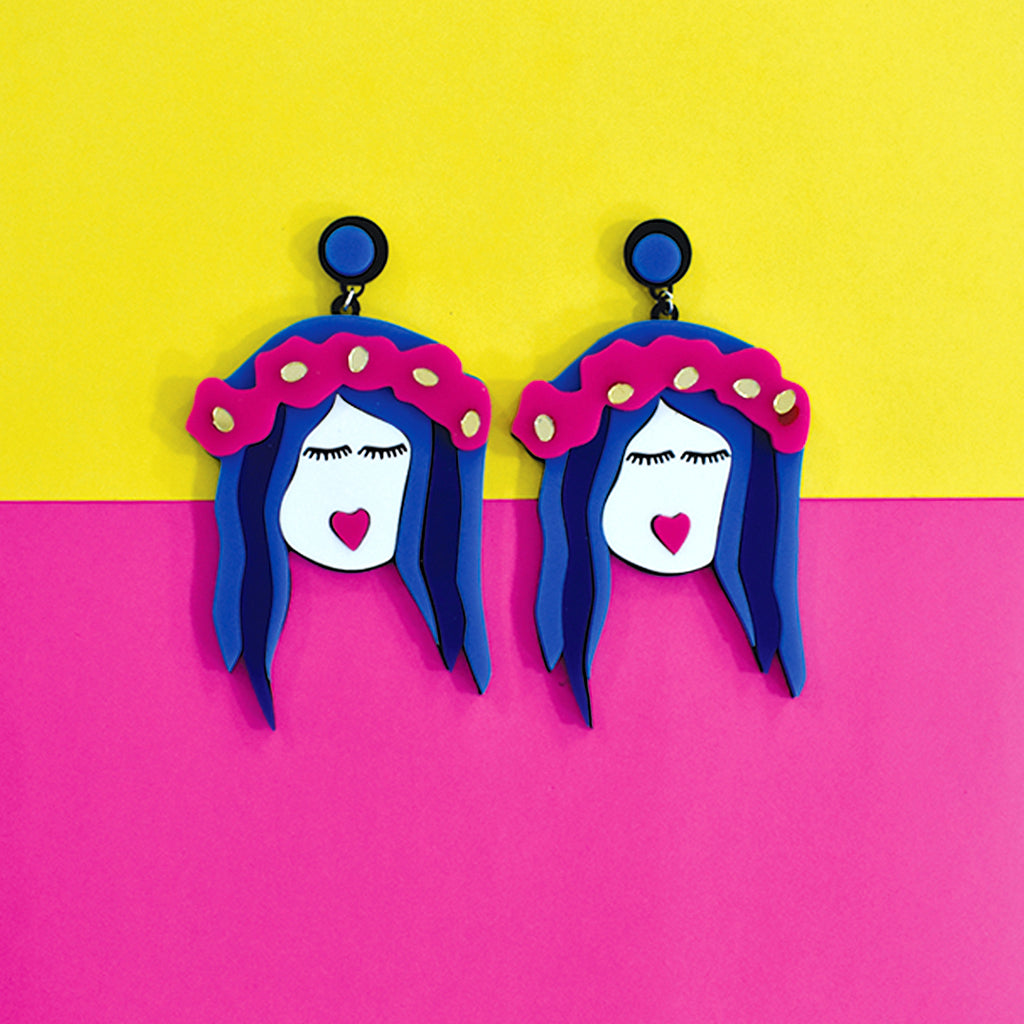 Frida Freespirited- Dreamy - Multicoloured Acrylic Face Earrings