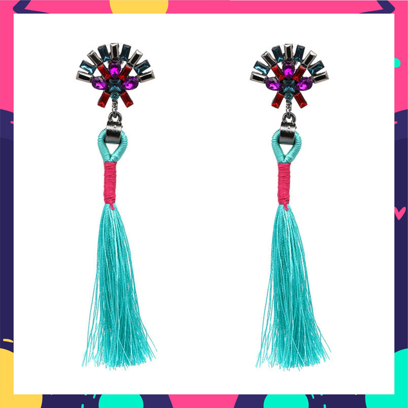 Plume & Feather - Sky - Stone Earrings With Tassels