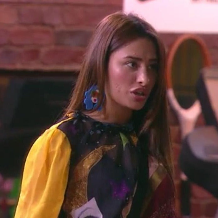 Mahira Sharma In Knick Knack Nook Rachel Retrogram- Blue Earrings - Multicoloured Face Acrylic Earrings