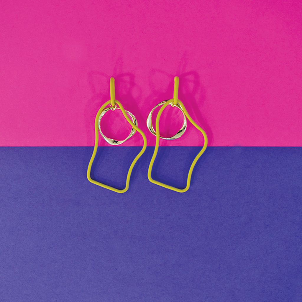 Wiggles - Mustard - Quirky  Metal Asymmetrical Earrings