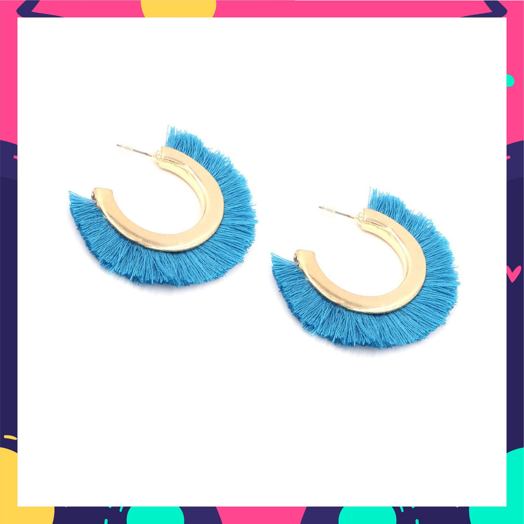 Mowgli - Blue Tassel Earrings