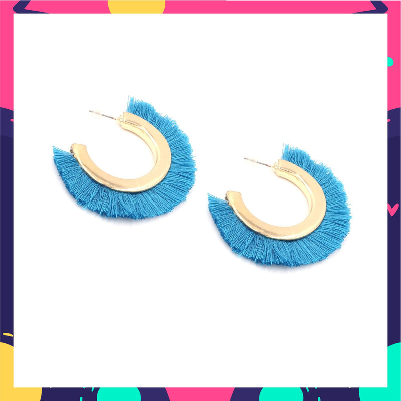 Mowgli - Blue Tassel Open Hoop Earrings