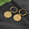 Arabella Gold - Metal Shimmery Disc Hoop Earrings