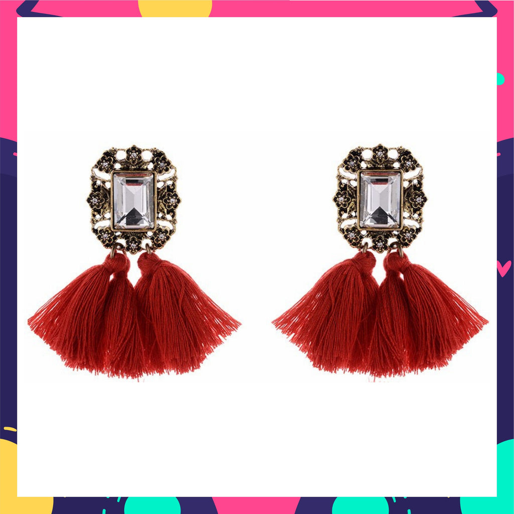 Mirror On The Wall - Red - Tassel Earrings with Crystal Stone